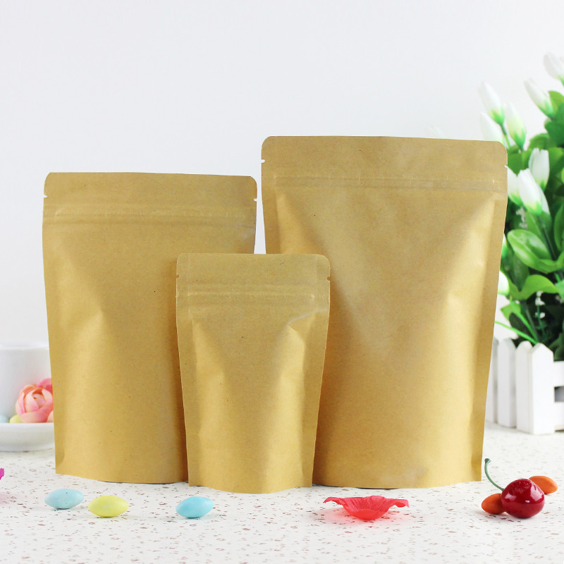 3.5''x5.5'' (9x14cm) Brown Kraft Paper Stand Up Aluminum Foil Packing Package Bag for Food Coffee Storage Zipper Zip Lock Bag(China (Mainland))