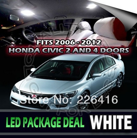 Free Shipping 6 X Xenon White Led Lights Interior Package Kit For 2006 2012 Honda Civic In
