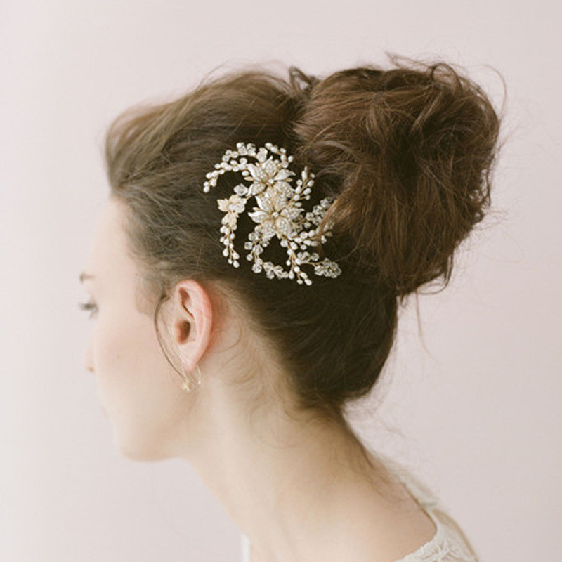 Handmade Gold Sun Flower Bridal Hair Comb Pearl Crystal Wedding Party Accessories Vine Tiara Prom Hair Jewelry(China (Mainland))