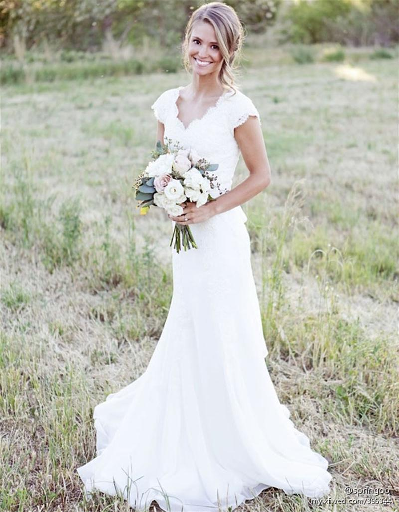 Rustic lace weddingdresses cap sleeves long sheath weding for Simple southern wedding dresses