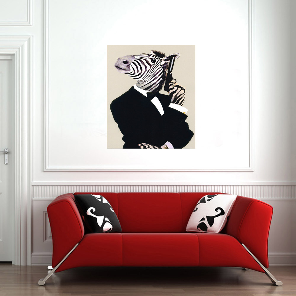 Cheap Wall Hangings Zebra Funny decoration gift oil painting hang picture for rooms wall hand painted Canvas abstract No Frame(China (Mainland))