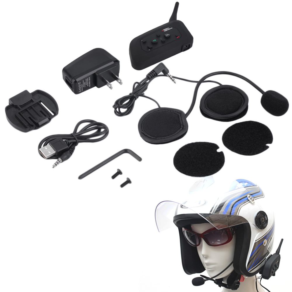 1200M V4 BT Multi Interphone Bluetooth Intercom Waterproof FM Motorcycle Headphone Helmet Headset Communicator 4 Riders US Plug