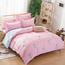 Cartoon Printing Bedding Three-piece Bedding Cheap Student Linens Textile Products Linens(China (Mainland))