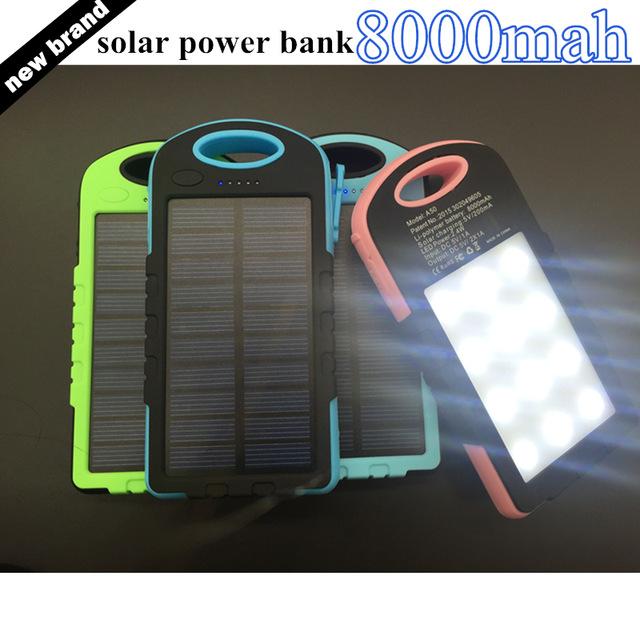 Абсолютно новый двойной-USB Водонепроницаемый Солнечный реальной силы 8000mah портативный Банк питания зарядное устройство с светодиодные внешний аккумулятор для телефона