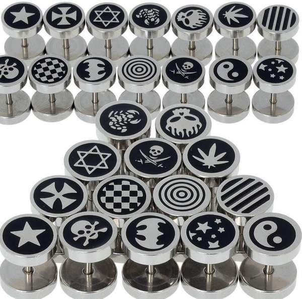 14X Mens Surgical Steel Earring Stud Fake Ear Stretcher Stainless Black Punk Gothic(China (Mainland))