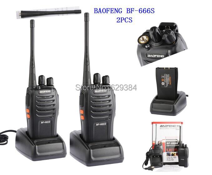 2 pcs 2013 new free shipping Cheap Walkie Talkie BF-666s 5W 16CH UHF 400-470MHz BF-666S Interphone BaoFeng 666S Two-Way Radio(China (Mainland))