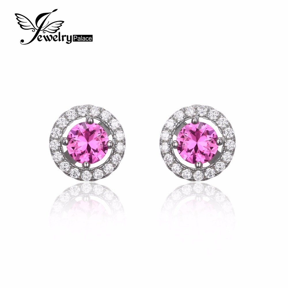 Jewelrypalace Round 14ct Created Pink Sapphire 925 Sterling Silver Stud  Earrings Classic Fashion Design Fine