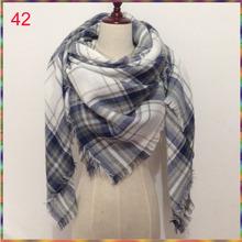 2015 Za Winter Autumn scarf Knit oversize blanket tartan plaid stole Designer Women Bandana Acrylic scarf shawl 140x140cm wrap(China (Mainland))