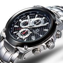 Carnaval moda y casual hombre de hombres reloj de cuarzo reloj taquímetro cronógrafo tritio luminoso dial grande 6-pinsfree libre