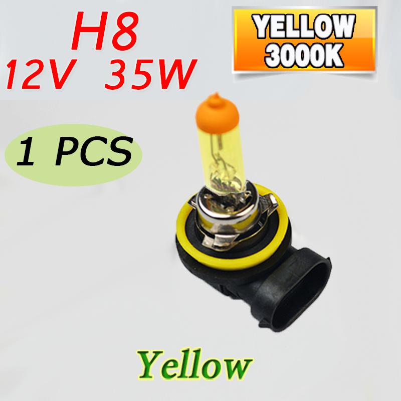 1 Piece Yellow H8 12V 35W PGJ19-1 Halogen Lamp 3000K Car Halogen Lamp Quartz Glass Auto Fog Light FREE SHIPPING(China (Mainland))