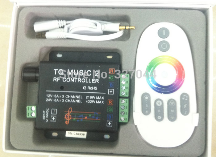 2-24V 18A 2CH RGB V2 Music led controller touch dimmer Sound/Audio control+RF Touch Remote(China (Mainland))