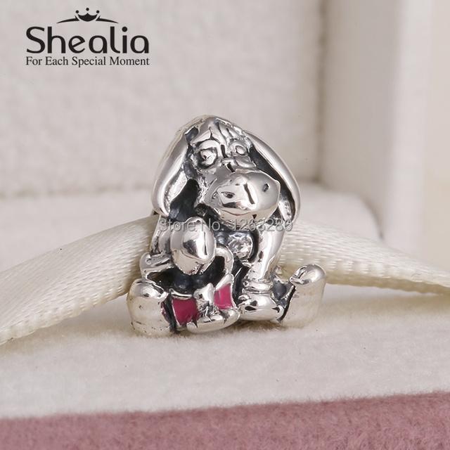 """Новинка 2015 года. Шарм из настоящего серебра в форме ослика с темной розовой эмалью на браслет типа """"Пандора"""""""