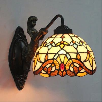 Stained Glass Lampshade Tiffany Mermaid Wall Lamp for  Bedside Home Decor Lighting E27 90-260V free shipping
