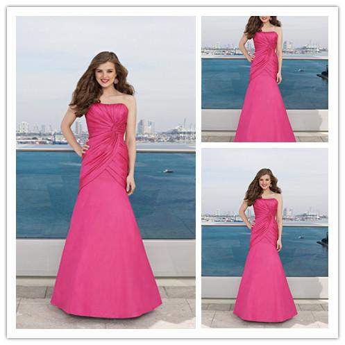 Free Custom Made A-line Satin Sleeveless Floor-length Elegant Ladies Lizi Brand Bridesmaid Dress Nice(China (Mainland))