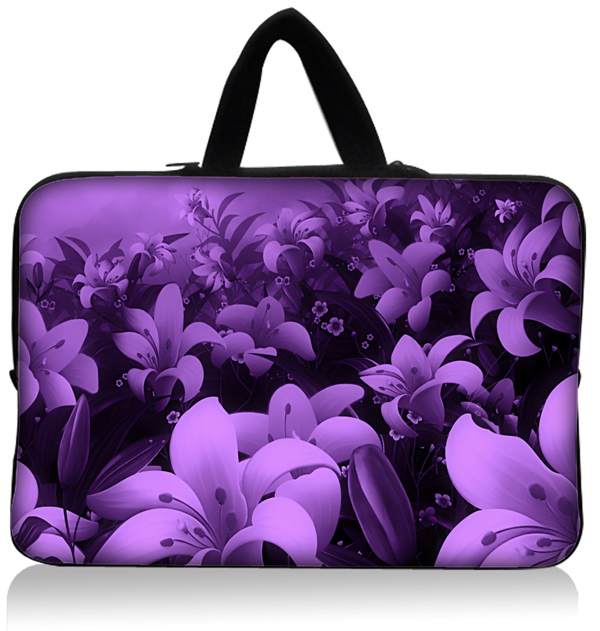 """Fashion Purple Flower World Neoprene 9"""" 10"""" 10.1"""" 10.2"""" Laptop Netbook Tablet PC Sleeve Bag Case Pouch Cover + Invisible handle(China (Mainland))"""