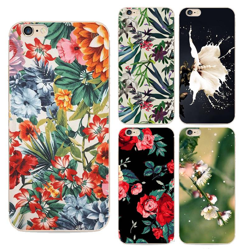 2016 New Top Behind Flowers Phone Case For Apple Iphone 6s Case Colorful flowers painted transparent shell For Iphone 6 Cases(China (Mainland))