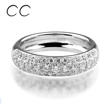Fashion Jewelry Rings for Women Bijoux Row Drilling Line White Gold Plated Party Rings with Austrian Crystal Best Gift CC037(China (Mainland))
