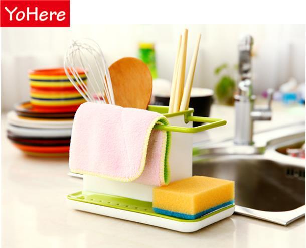 Yohere Creative kitchen storage shelves 6 colors Glove storage rack Practical cooking tools cutlery sponge holder dish rack(China (Mainland))