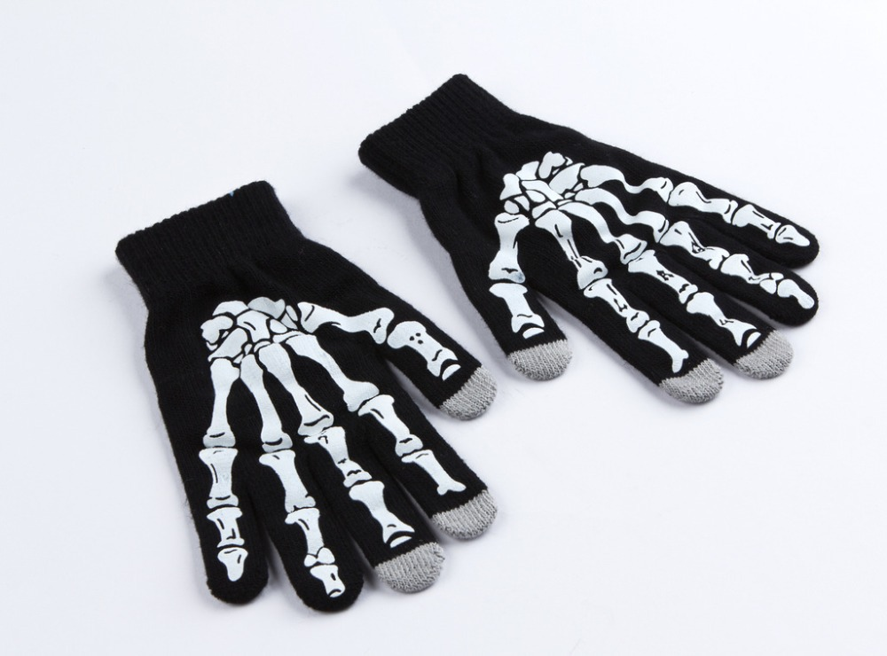 2015 Hot Sale Fashion Men s Skeleton Winter Glove Hand Touch For Man Male Free Shipping