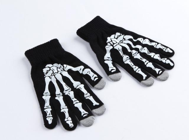 2016 горячая распродажа мода мужская скелет зимние перчатки рука сенсорный для человека ...