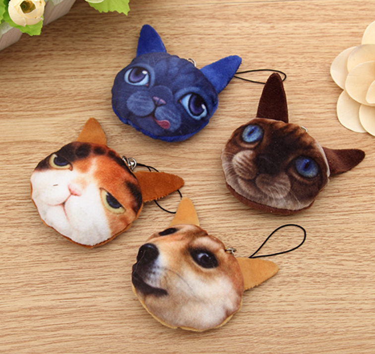HOT NEW 3D Cats 1X Random Design , 5CM Stuffed Cats Plush Doll Toy , String Rope Gift Plush Toy , bouquet wedding gift toy(China (Mainland))