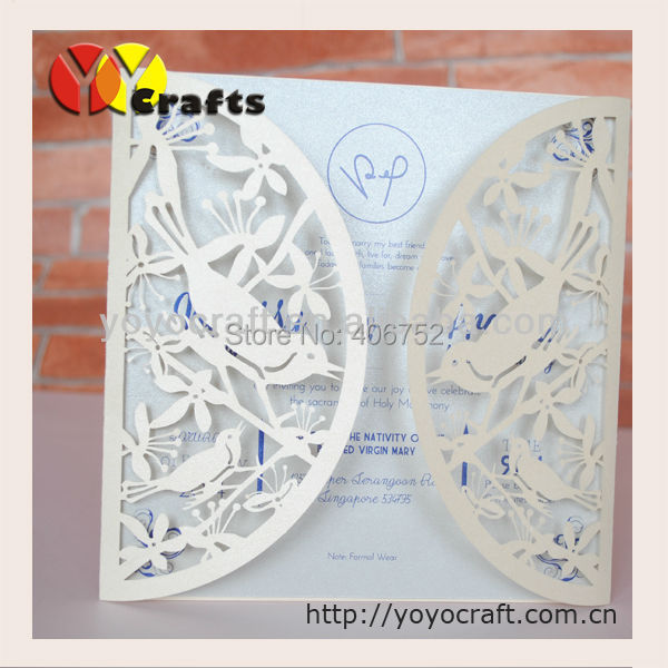 wedding invitation cards models laser cut wedding invitation card lovely birds chinese wedding invitation card(China (Mainland))