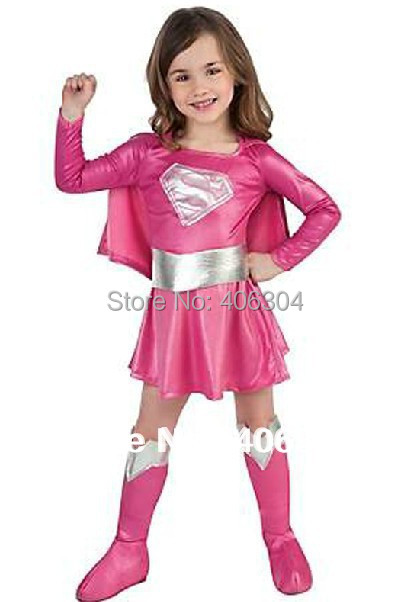 ,children hot pink superman girl dress,halloween cosplay party super hero costume cape,boots,belt . - HH Party Costume Store store
