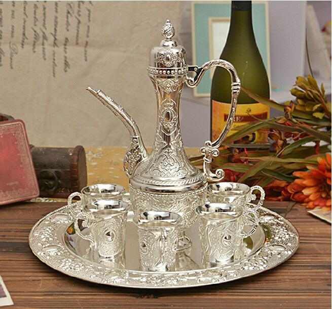 Sell fast Silver plated metal wine milk water tea set coffee set home decoration