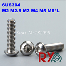 Buy 100pcs/lot M2/M2.5/M3/M4/M5/M6*L ISO7380 Stainless Steel A2 Hex socket button head cap screw SUS 304 ISO7380 for $5.00 in AliExpress store