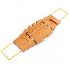 1Pcs Bathroom Storage Shelf Holder Over Bath Caddy Wooden Bathtub Rack Portable Tray