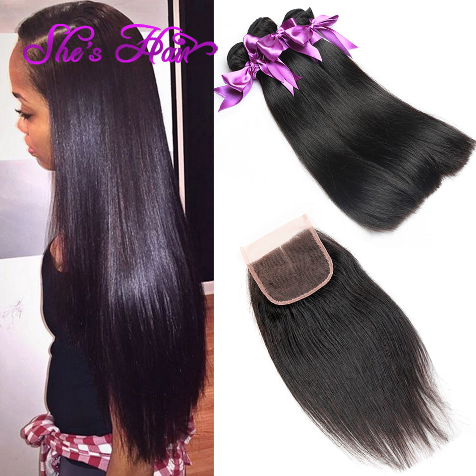 Amazing 10A Brazilian Straight Hair With Closure Top 4*4 Bleached Knots Cheap 3 Bundles Straight Virgin Hair With Lace Closure