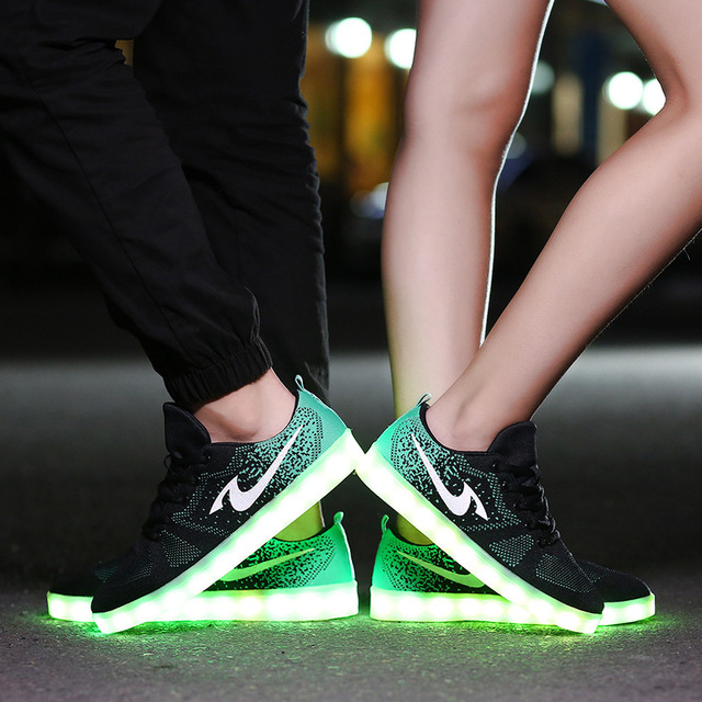 fashion 7 color led shoes for adults unisex basket femme light shoes women christmas shoes different - Basket Femme Color