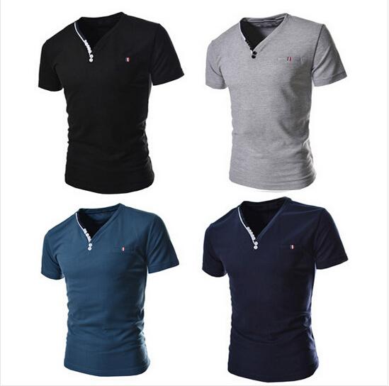 FAAJ 2016 New Brand PIQUE 8 color Fashion Ribbon element men T shirts Slim fit casual V neck Short sleeve homme de marque(China (Mainland))