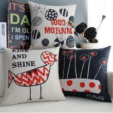 Graffiti bird & flowers thick cotton cushion pillow
