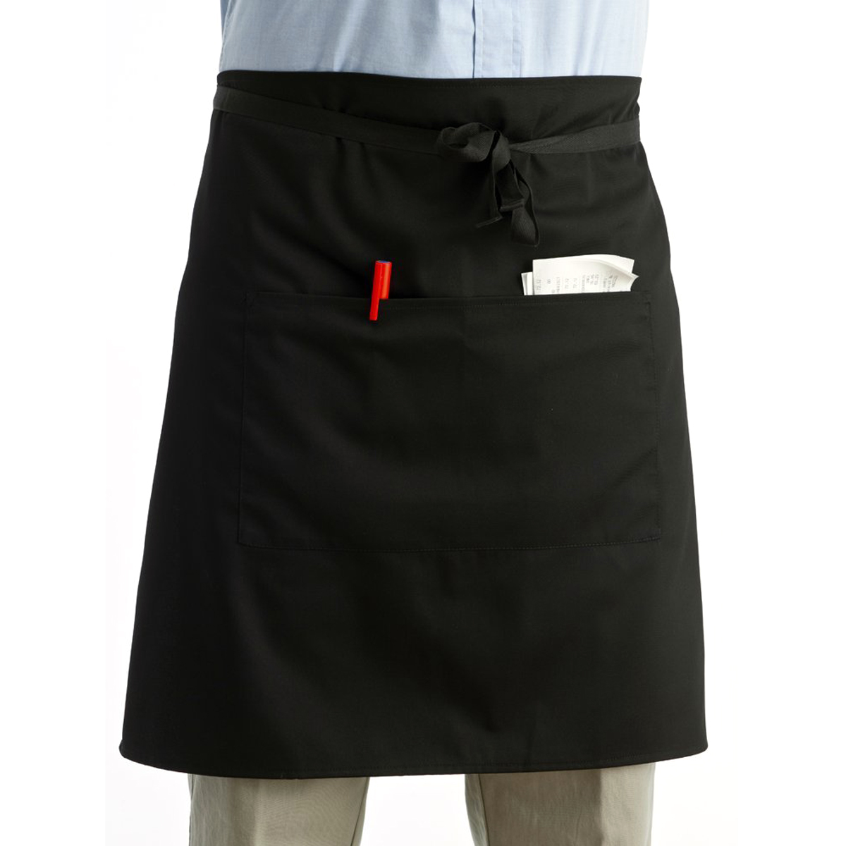 Universal Unisex Kitchen Cooking hotel chef aprons chef uniforms Waist Apron Short Apron Waiter Apron with Double Pockets(China (Mainland))