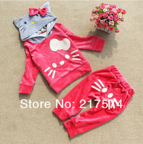 WholesaleHello Kitty Girls Long SleeveTracksuits Children Velvet Kitty cat sport suits Girl's cat Hooded sweater + cat pp pants