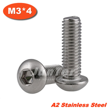 Buy 100pcs/lot ISO7380 M3*4 Stainless Steel A2 Hexagon Socket Button Head Screws for $5.82 in AliExpress store