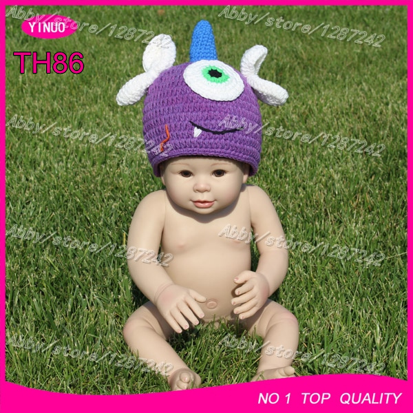 Free shipping by express purple crochet one -eye monster baby hat knitted crochet beanie baby cartoon photos(China (Mainland))
