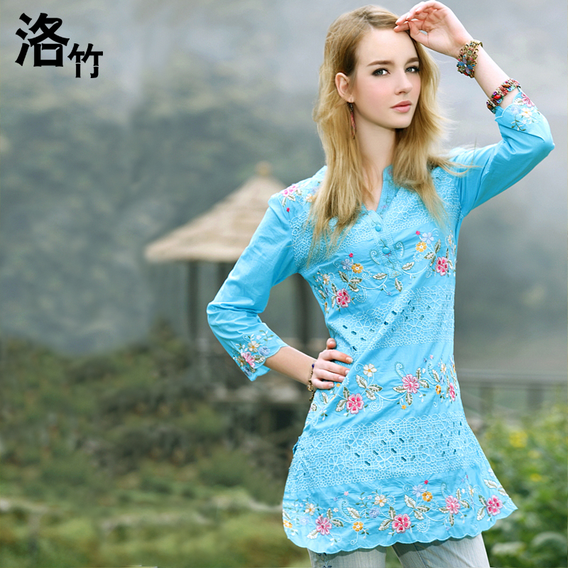 Bamboo summer plus size cutout embroidered national trend clothing floral print shirt women's(China (Mainland))