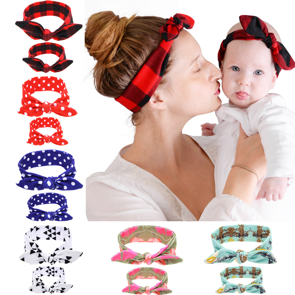 2016 Mom and kids DIY Tie Bow Headband accesorios para el pelo Hair bands Cotton baby headbands hair accessories FD7941(China (Mainland))