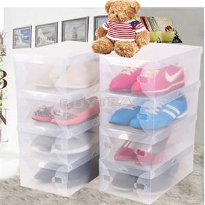 Brand New Transparent Shoe Boxes Clear Plastic Storage Box Packaging Box 9.5*9.5*21(inch) Universal Use(China (Mainland))