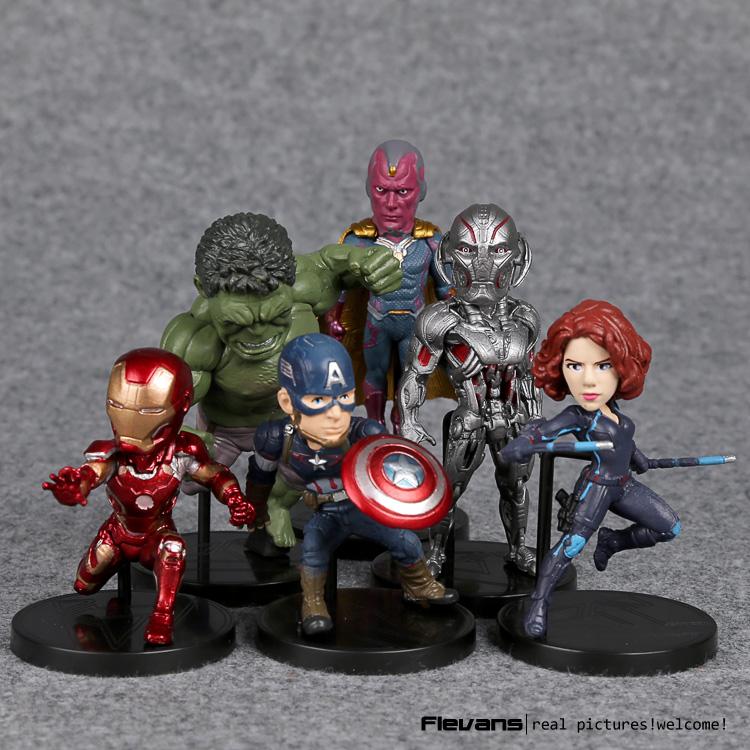 Marvel Avengers 2 Age of Ultron Hulk Black Widow Vision Ultron Iron Man Captain America PVC Figures Toys 6pcs/set HRFG471
