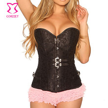 Black Brocade with Buckles Overbust Steel Boned Waist Training Corset Gothic Clothing Corsetto Steampunk Korsett For Women