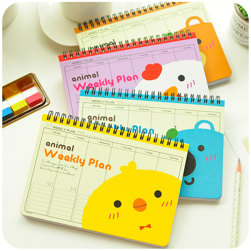 office school weekly daily business note organizer notepad sweet cute landscape/horizontally spiral filofax book(China (Mainland))