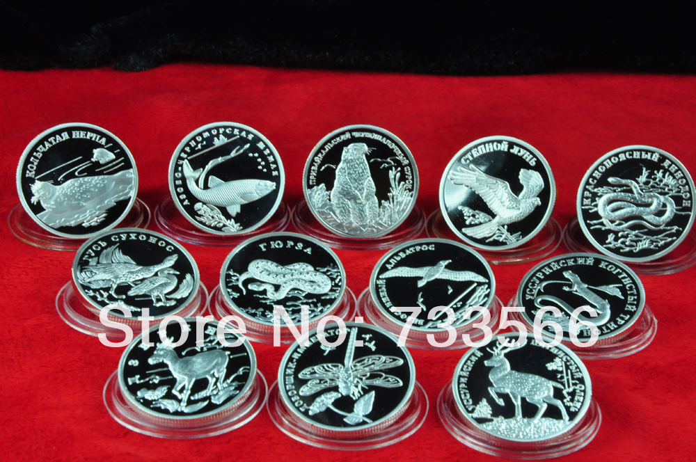 12pcs/lot Red Book Animal Wildlife Russia Souvenir Coins(China (Mainland))