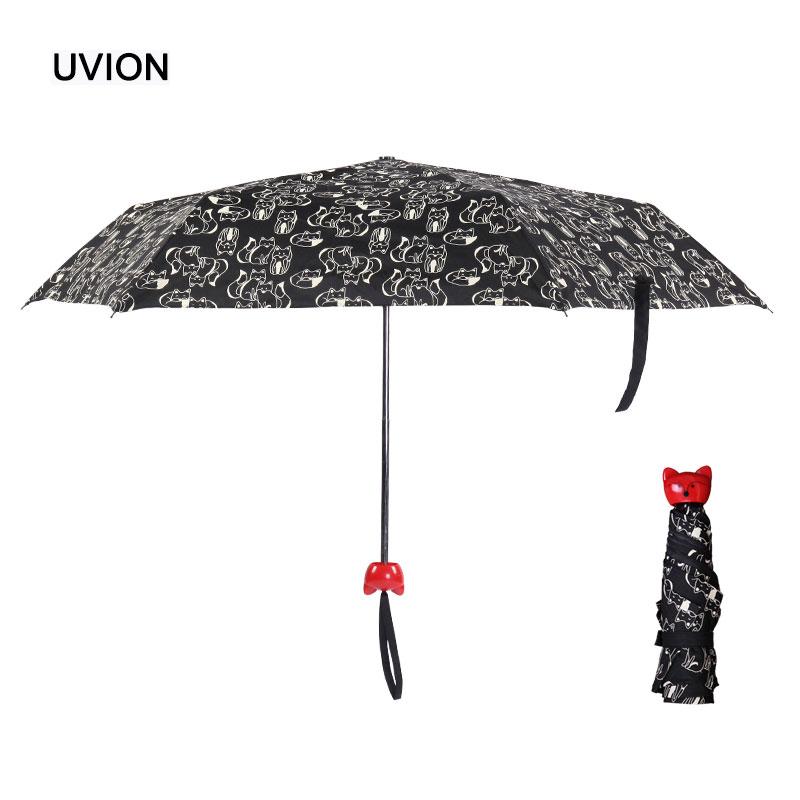 Cute Cat Umbrella For Kids And Women Mini Three Folding Paraguas Handle Sunny And Rainy Umbrella sh0017(China (Mainland))