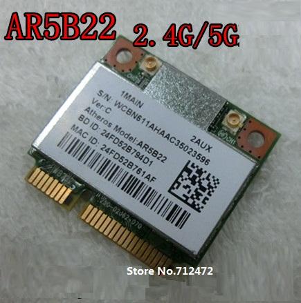 Original Wireless Card WiFi +4.0 Bluetooth Atheros AR5B22 300Mbps 802.11a/b/g/n half Mini PCI-E Card Dual-band 2.4G / 5G(China (Mainland))