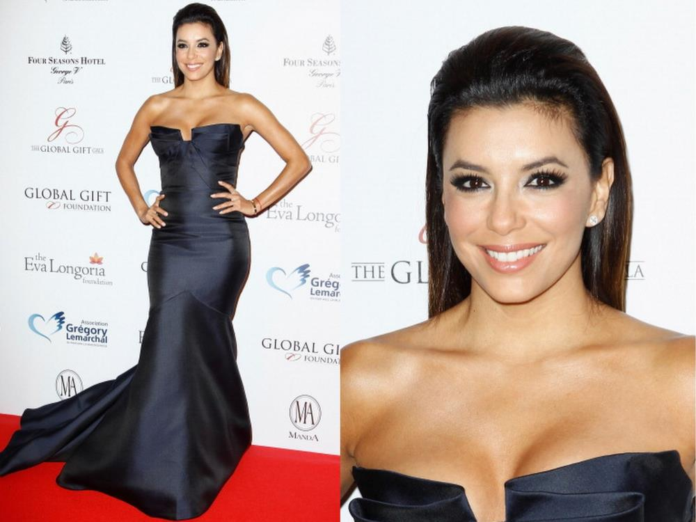 Navy Satin Mermaid Celebrity Inspired Red Carpet Evening Gown Eva Longoria Wearing Monique Lhuillier At Global Gift Gala 2014(China (Mainland))