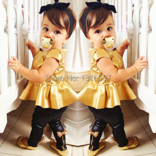 hot sale 2014 new Baby Girls Childs Kids Gold Dress + Legging Pants Casual Clothes Sets Outfits free shipping(China (Mainland))