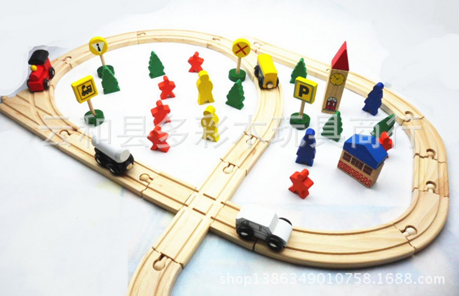wooden toys for children train railway educational toys scale models(China (Mainland))
